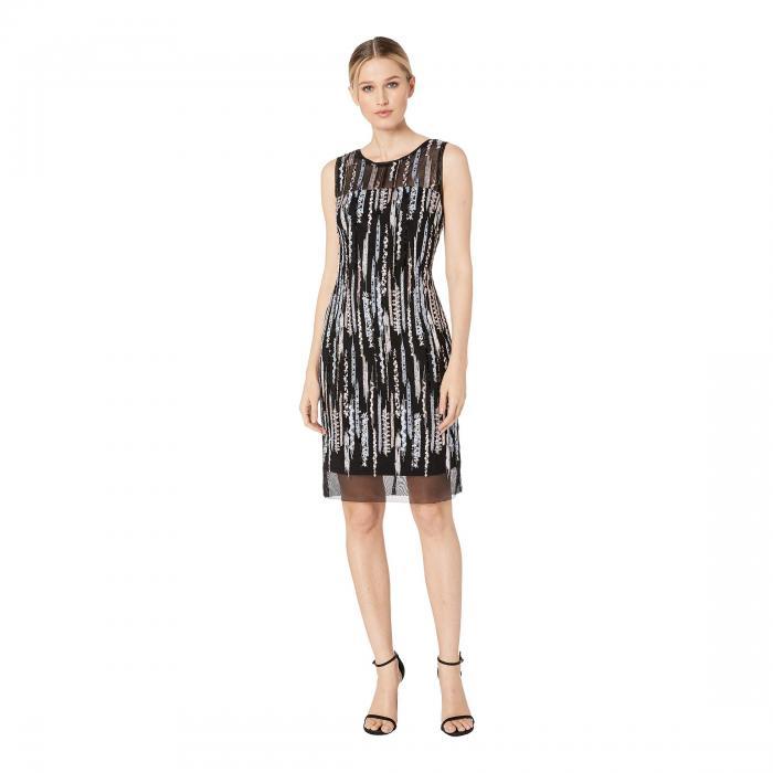 LAUNDRY BY SHELLI SEGAL ノンスリーブ ドレス レディースファッション ワンピース レディース 【 Sequin Mesh Sleeveless Sheath Dress 】 Black Multi