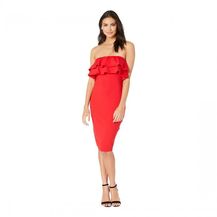 SUSANA MONACO 【 STRAPLESS DOUBLE RUFFLE DRESS PERFECT RED 】 レディースファッション ワンピース 送料無料