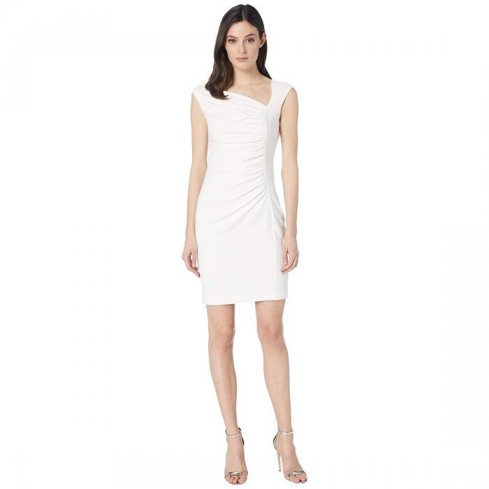 ALEXIA ADMOR クレープ ドレス レディースファッション ワンピース レディース 【 Drop Shoulder Crepe Ruched Sheath Dress 】 Off-white