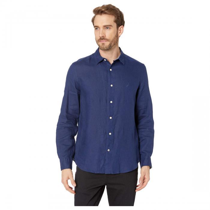 NAUTICA スリーブ メンズファッション トップス Tシャツ カットソー メンズ 【 Long Sleeve Faded Linen Shirt 】 J-class Navy