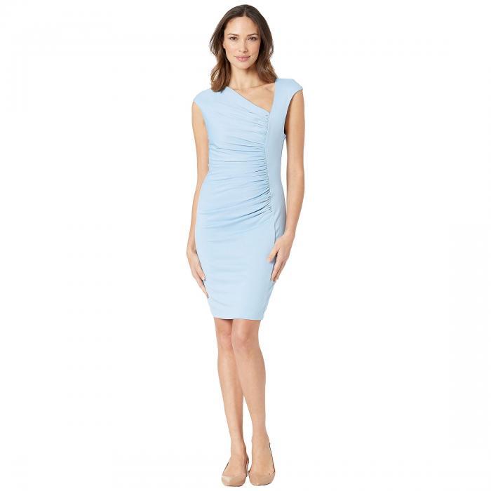 ALEXIA ADMOR ドレス レディースファッション ワンピース レディース 【 Brooke Asymmetric Ponte Ruched Sheath Dress 】 Halogen Blue