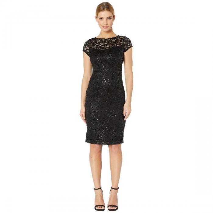 MARINA キャップ 帽子 スリーブ ドレス レディースファッション ワンピース レディース 【 Stretch Lace Cap Sleeve Midi Dress 】 Black