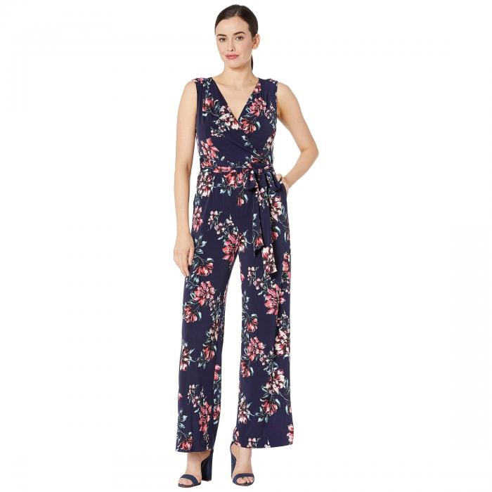 TAHARI BY ASL ジャージ レディースファッション オールインワン サロペット レディース 【 Printed Stretch Jersey Floral Jumpsuit 】 Mixed Bouquet Navy