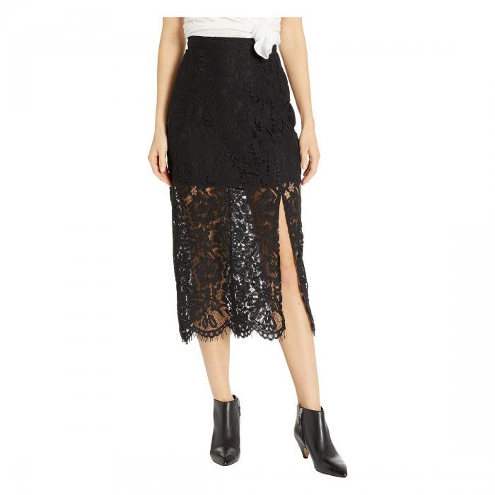 チェイサー CHASER レディースファッション ボトムス スカート レディース 【 Lace Straight Midi Skirt W/ Slit 】 True Black