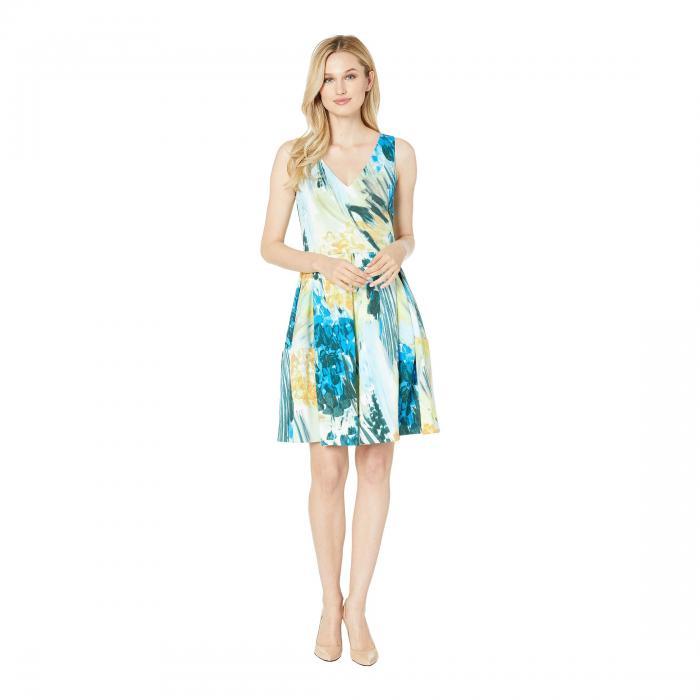 TAYLOR ノンスリーブ ブイネック ドレス レディースファッション ワンピース レディース 【 Sleeveless Tie-dye Print V-neck Dress 】 Ivory/gold Multi