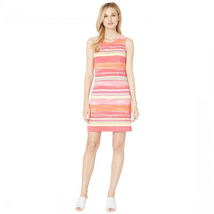 PAPPAGALLO ドレス ストライプ クレープ レディースファッション ワンピース レディース 【 The Sandy Dress - Hazy Stripe Scuba Crepe 】 Melon Multi