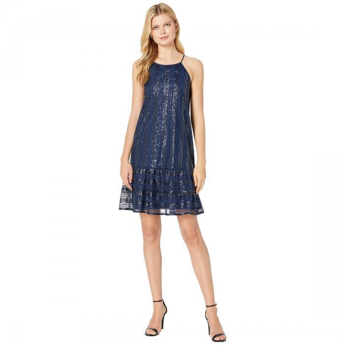 【スーパーセール中! 6/11深夜2時迄】CECE ノンスリーブ ドレス レディースファッション ワンピース レディース 【 Sleeveless Ruffled Sequin Shift Dress 】 Midnight Bloom