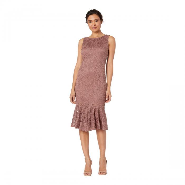 MARINA ノンスリーブ ドレス レディースファッション ワンピース レディース 【 Sleeveless Glitter Lace Midi Dress With Bottom Flounce 】 Caf・・