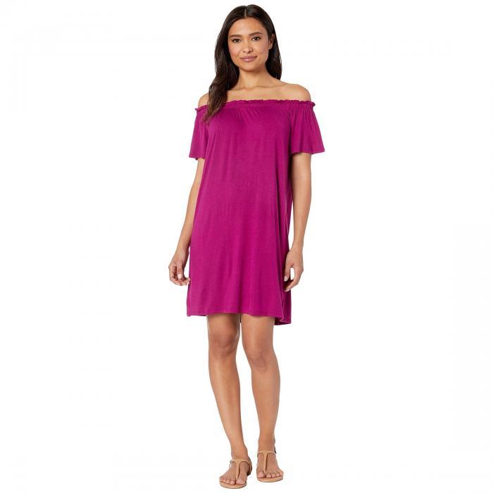 BOBEAU ニット ドレス レディースファッション ワンピース レディース 【 Off The Shoulder Knit Dress 】 Magenta