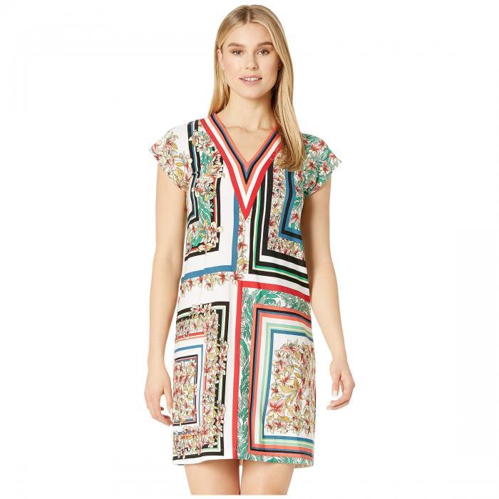 LONDON TIMES ジャージ ブイネック ドレス レディースファッション ワンピース レディース 【 Matte Jersey V-neck Shift Dress 】 Soft White/multi