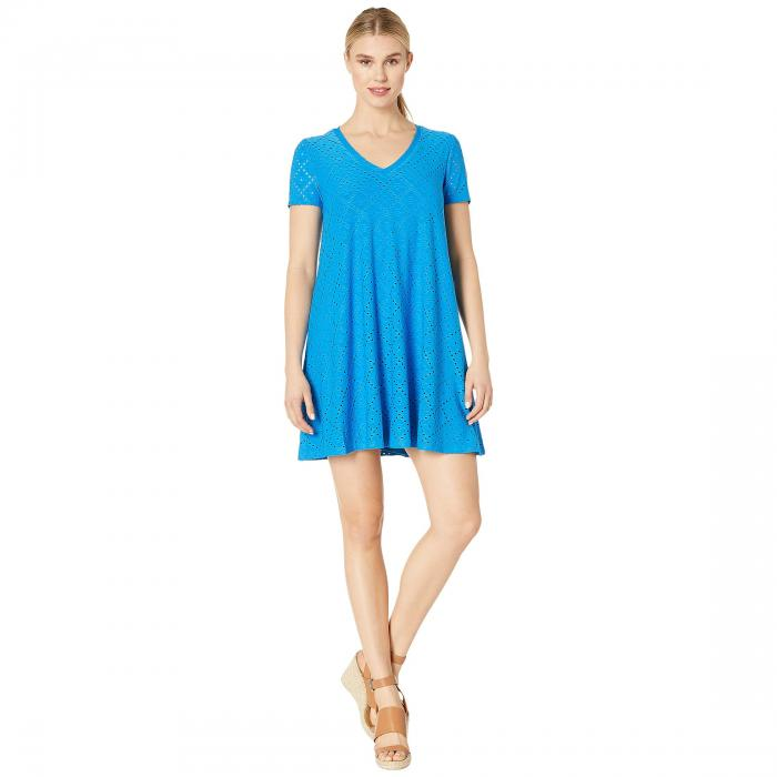 LONDON TIMES ジャージ ブイネック ドレス レディースファッション ワンピース レディース 【 Embroidered Jersey V-neck A-line Dress 】 Sea Bue