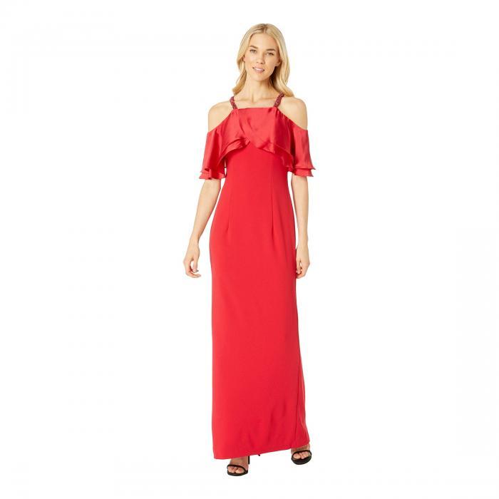 アドリアナパペル ADRIANNA PAPELL クレープ ドレス レディースファッション ワンピース レディース 【 Long Crepe Dress Beaded Straps 】 Red