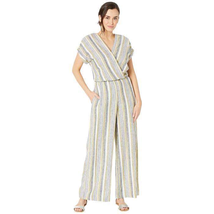 ECI ストライプ レディースファッション オールインワン サロペット レディース 【 Linen Stripe Jumpsuit W/ Surplice Top 】 Ivory/black