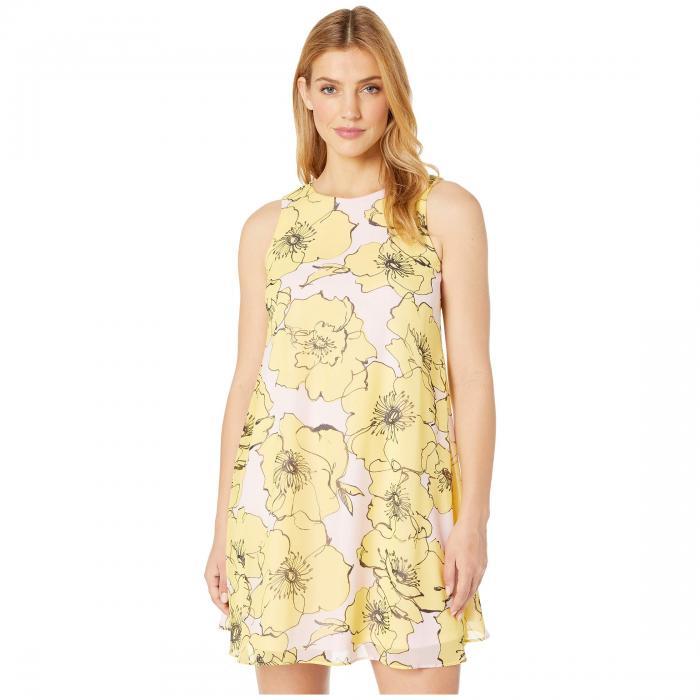 TAYLOR ノンスリーブ ドレス レディースファッション ワンピース レディース 【 Sleeveless Floral Print Shift Dress 】 Daffodil