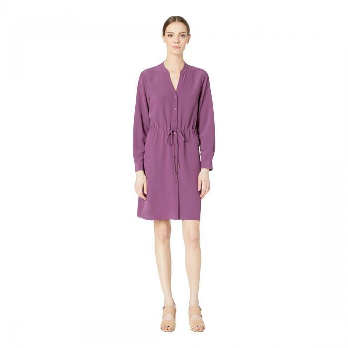 アイリーンフィッシャー EILEEN FISHER ドレス レディースファッション ワンピース レディース 【 Stand Collar Dress With Drawstring 】 Currant