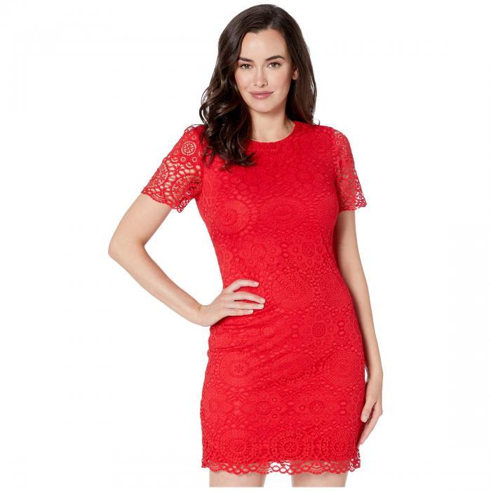 LAUNDRY BY SHELLI SEGAL スリーブ ドレス レディースファッション ワンピース レディース 【 Short Sleeve Lace Dress 】 Cherry