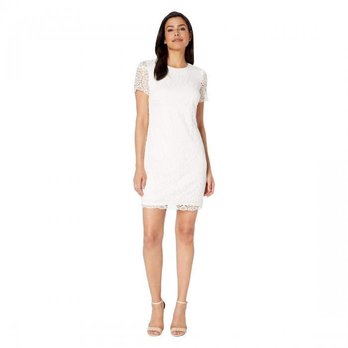 LAUNDRY BY SHELLI SEGAL スリーブ 【 SLEEVE SHORT LACE DRESS WHITE 】 レディースファッション ワンピース 送料無料