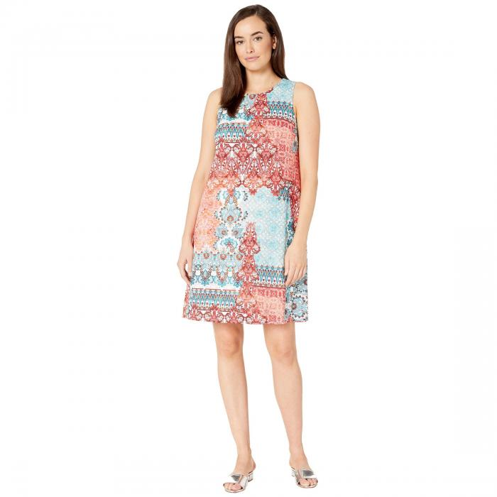 LONDON TIMES テクスチャー ニット ドレス レディースファッション ワンピース レディース 【 Texture Knit Gauze A-line Dress 】 Coral/turquoise