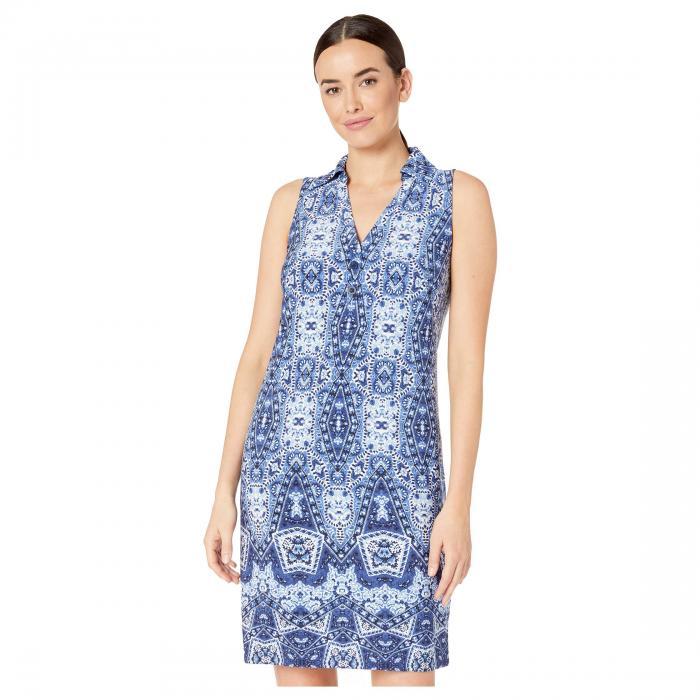 LONDON TIMES ノンスリーブ ドレス レディースファッション ワンピース レディース 【 Sleeveless Collared Shirt Dress 】 Soft White/blue