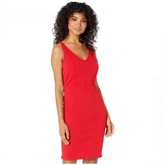 ベベ BEBE ブイネック ノンスリーブ ドレス レディースファッション ワンピース レディース 【 V-neck Sleeveless Dress 】 Red