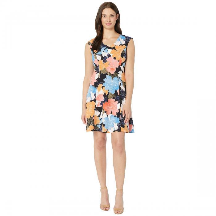 LONDON TIMES ブイネック ドレス レディースファッション ワンピース レディース 【 Japanese Flower V-neck Fit And Flare Dress 】 Navy Multi