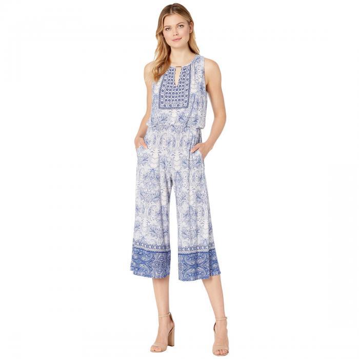 LONDON TIMES レディースファッション オールインワン サロペット レディース 【 Shirred Neck Jumpsuit 】 Ivory/blue