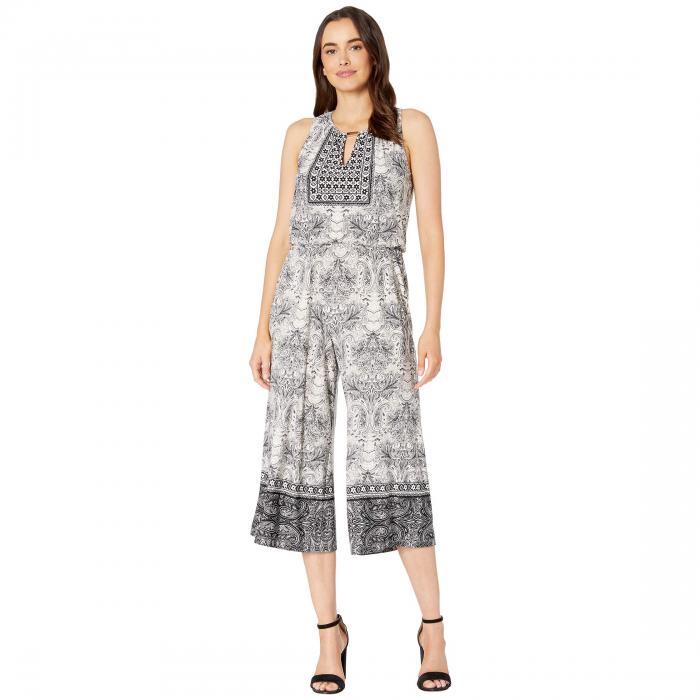 LONDON TIMES レディースファッション オールインワン サロペット レディース 【 Shirred Neck Jumpsuit 】 Ivory/black