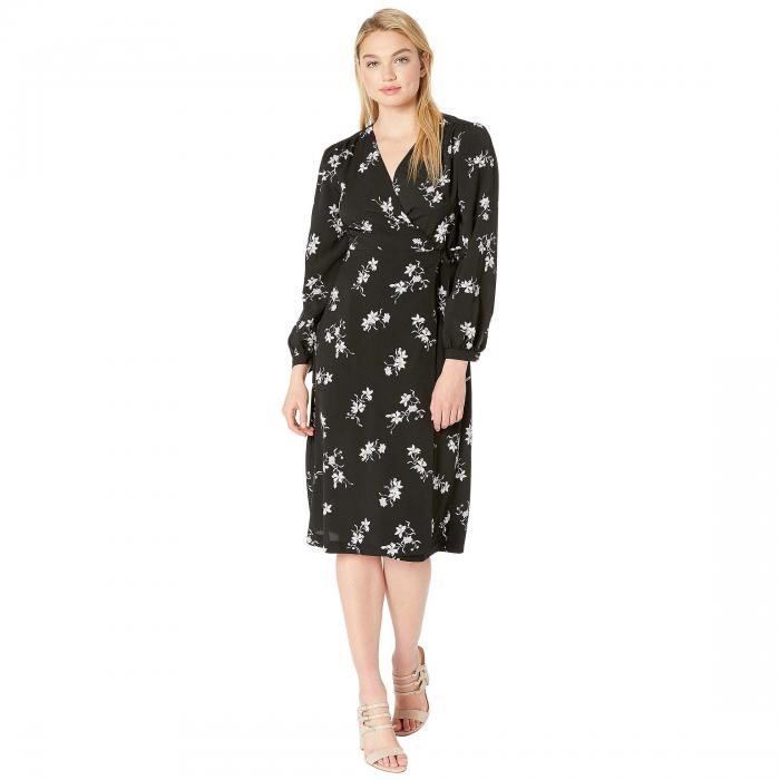 KENSIE ラップ ドレス レディースファッション ワンピース レディース 【 Simply Floral Wrap Midi Dress Ks2k8339 】 Black Combo