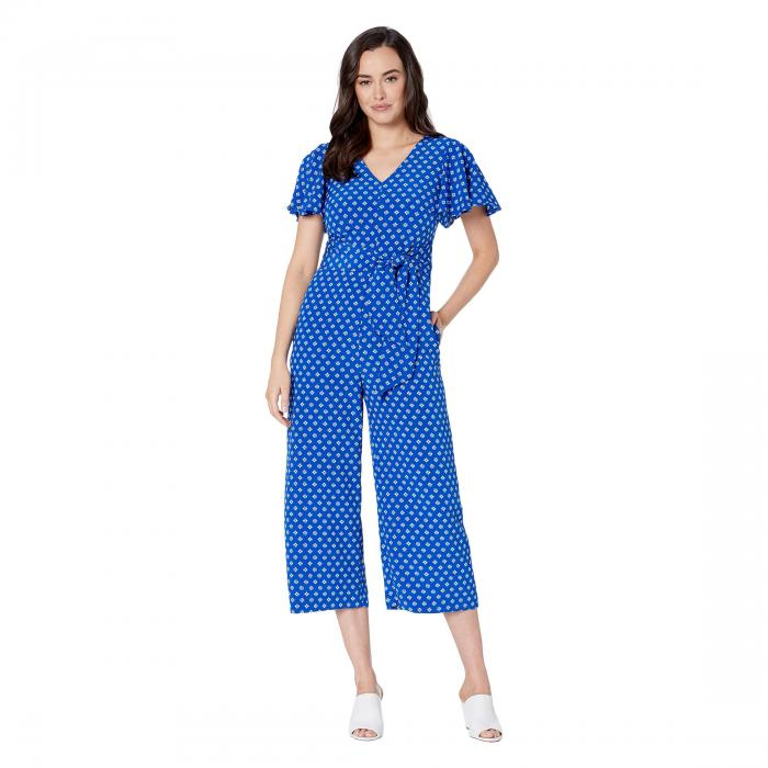 TAHARI BY ASL クレープ レディースファッション オールインワン サロペット レディース 【 Printed Crinkle Crepe Cropped Jumpsuit 】 Summer Royal Tile