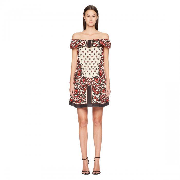 RED VALENTINO ドレス レディースファッション ワンピース レディース 【 Cotton Poplin Medium Bandana Print Dress 】 Cherry