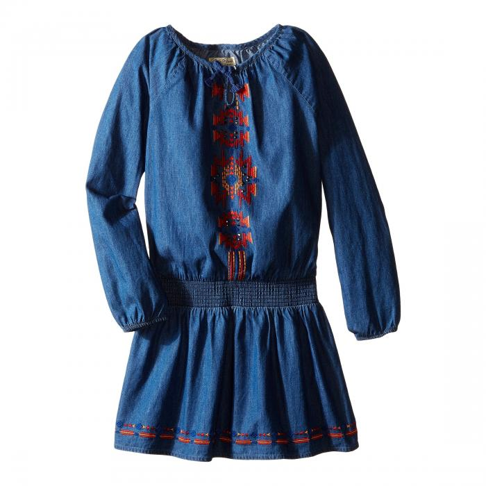 【海外限定】ドレス キッズ ベビー 【 CHAMBRAY PEASANT DRESS WITH EMBROIDERY LITTLE KIDS 】