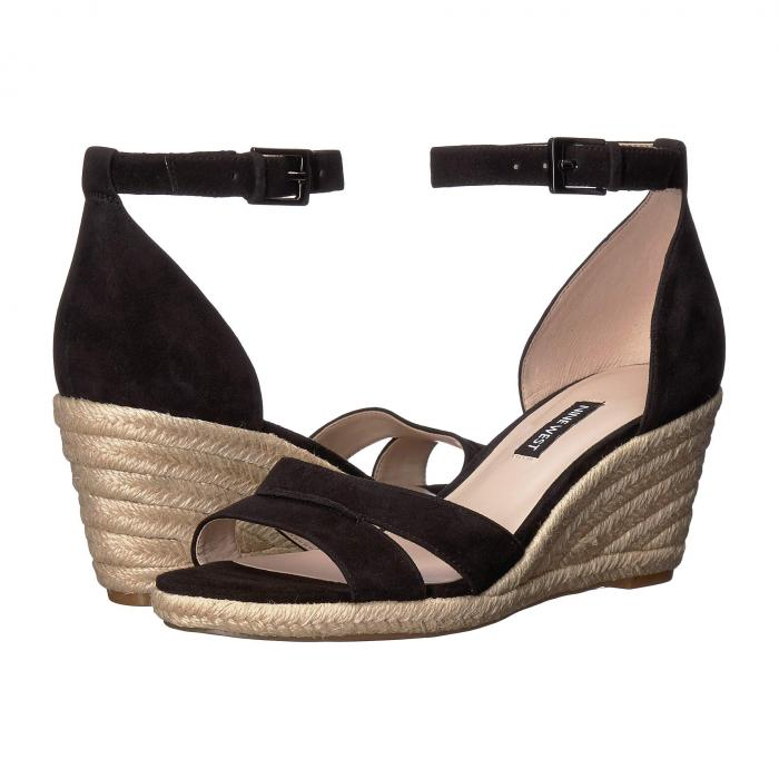 【スーパーセール商品】NINE WEST 【 JABRINA ESPADRILLE WEDGE SANDAL BLACK 】 送料無料