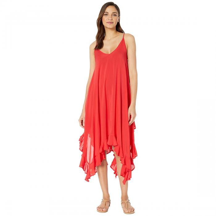 ブルーロッドビーティー BLEU ROD BEATTIE ドレス レディースファッション ワンピース レディース 【 Gypset Rayon Handkerchief-hem Dress With Ruffle 】 Scarlet