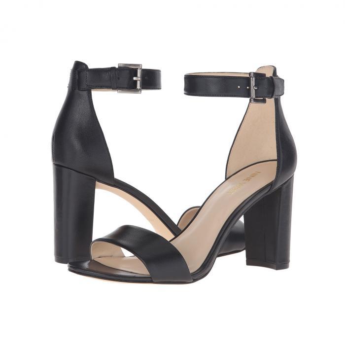 NINE WEST レディース 【 Nora Block Heel Sandal 】 Black Leather