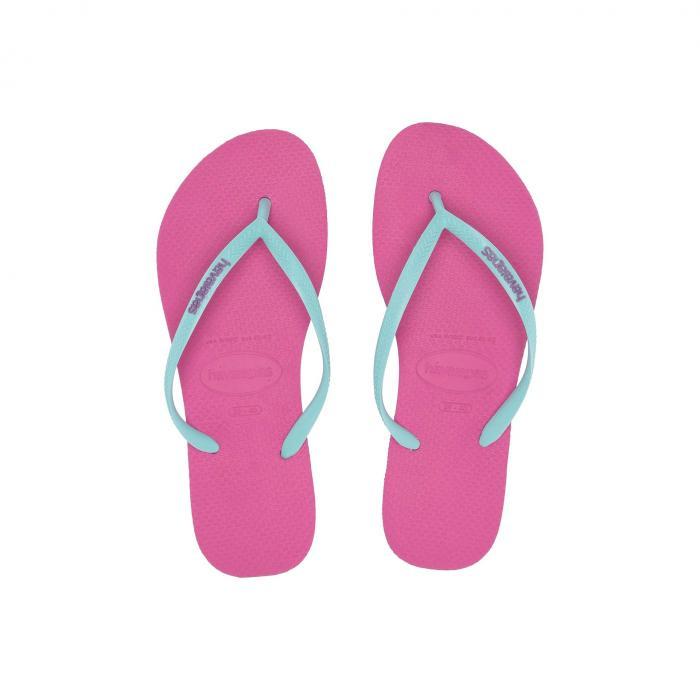 【スーパーセール商品】HAVAIANAS スリム ロゴ 【 SLIM LOGO POPUP FLIP FLOPS HOLLYWOOD ROSE ICE BLUE 】 送料無料