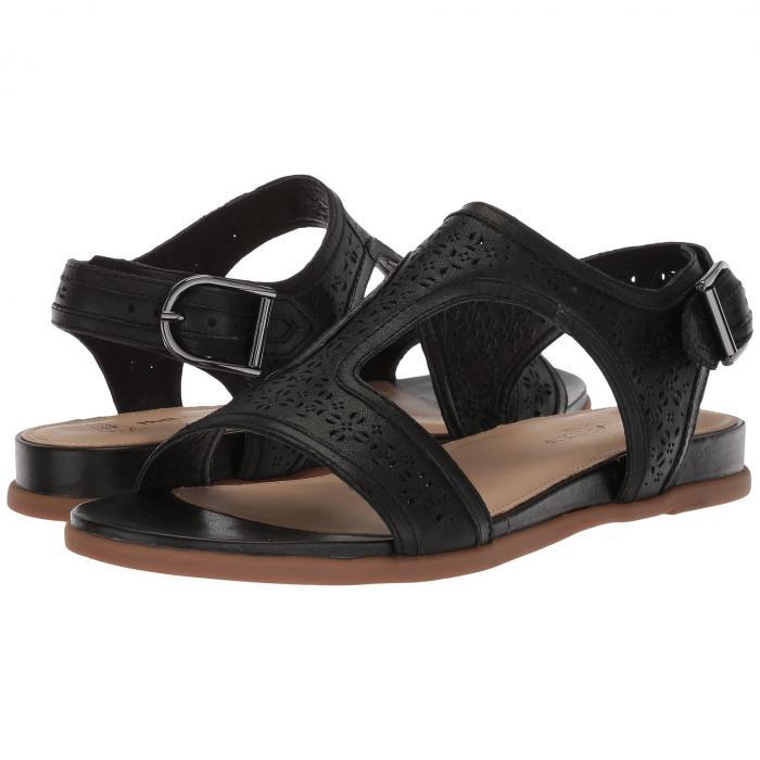 HUSH PUPPIES レディース 【 Dalmatian T-strap 】 Black Perf Leather