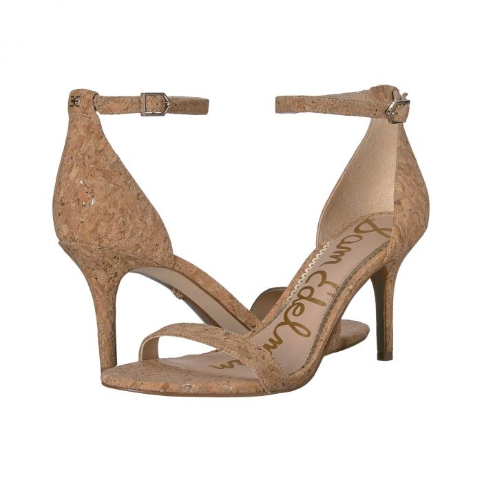 SAM EDELMAN ストラップ レディース 【 Patti Ankle Strap Heeled Sandal 】 Natural/gold Metallic Fleck Cork