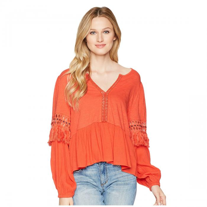LUCKY BRAND 赤 レッド 【 RED LUCKY BRAND CUT OUT PEASANT TOP CLAY 】 レディースファッション トップス