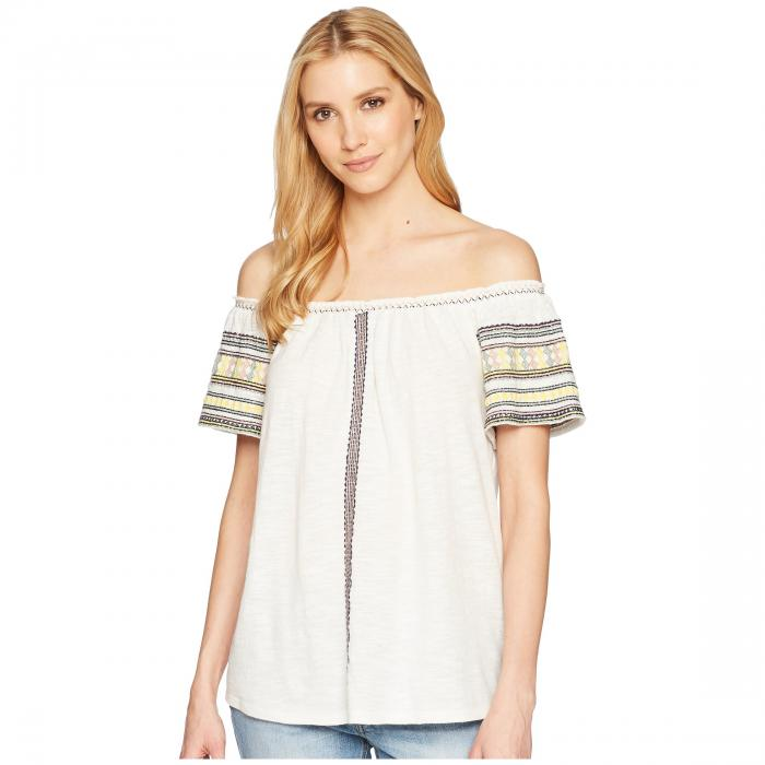 LUCKY BRAND 【 LUCKY BRAND EMBROIDERED OFF THE SHOULDER TOP MARSHMALLOW 】 レディースファッション トップス
