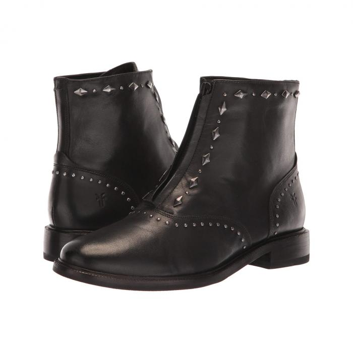 FRYE レディース 【 Kelly Stud Front Zip 】 Black Dip-dyed Leather