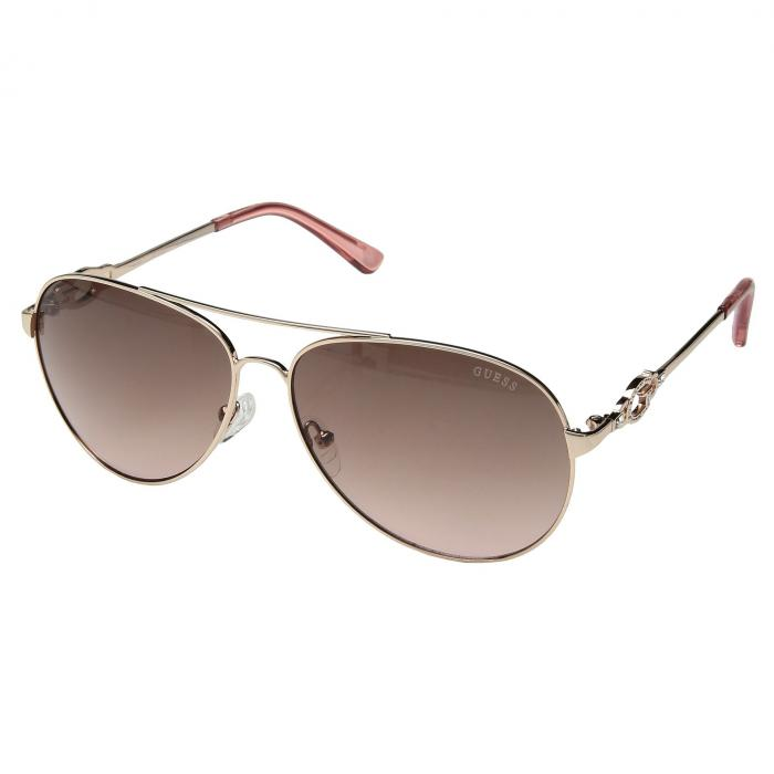 GUESS ローズ 金色 ゴールド 茶 ブラウン ピンク 【 ROSE BROWN PINK GUESS GF6064 SHINY GOLD TO GRADIENT LENS 】 バッグ  眼鏡
