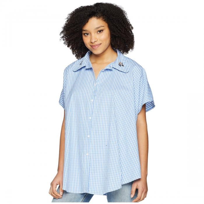 VINCE CAMUTO 銀色 シルバー 青 ブルー 【 SILVER BLUE VINCE CAMUTO EMBROIDERED GINGHAM BOYFRIEND BUTTON UP TOPPER LAKE 】 レディースファッション トップス