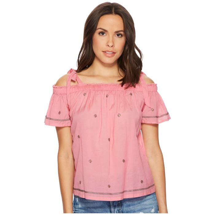 LUCKY BRAND ピンク 【 PINK LUCKY BRAND EMBROIDERED TOP FLAMINGO 】 レディースファッション トップス