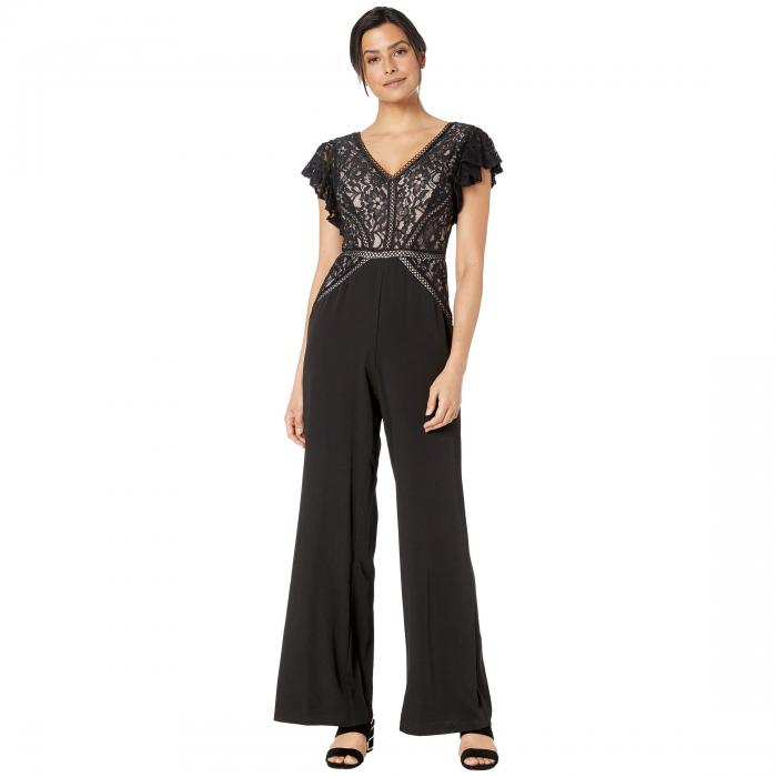 TAYLOR スリーブ 黒 ブラック 【 SLEEVE BLACK TAYLOR RUFFLE LACE TOP WIDE LEG JUMPSUIT 】 レディースファッション