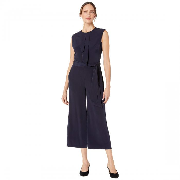 LONDON TIMES クレープ 紺 ネイビー 【 NAVY LONDON TIMES FEATHER CREPE JUMPSUIT 】 レディースファッション