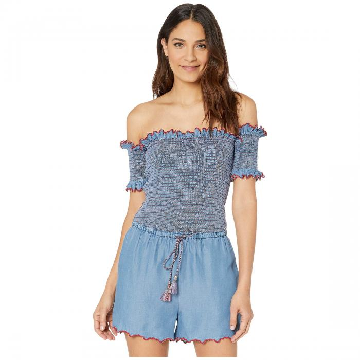 JUICY COUTURE レディースファッション レディース 【 Chambray Scallop Embroidered Smocked Romper 】 Chambray