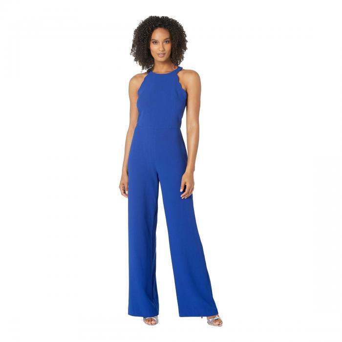 アドリアナパペル ADRIANNA PAPELL レディースファッション レディース 【 Scalloped Halter Jumpsuit 】 Egyptian Blue