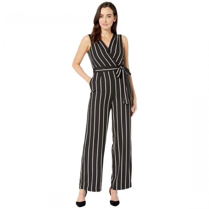 TAHARI BY ASL ノンスリーブ クレープ レディースファッション レディース 【 Sleeveless Crepe Striped Jumpsuit 】 Black Sand Stripe