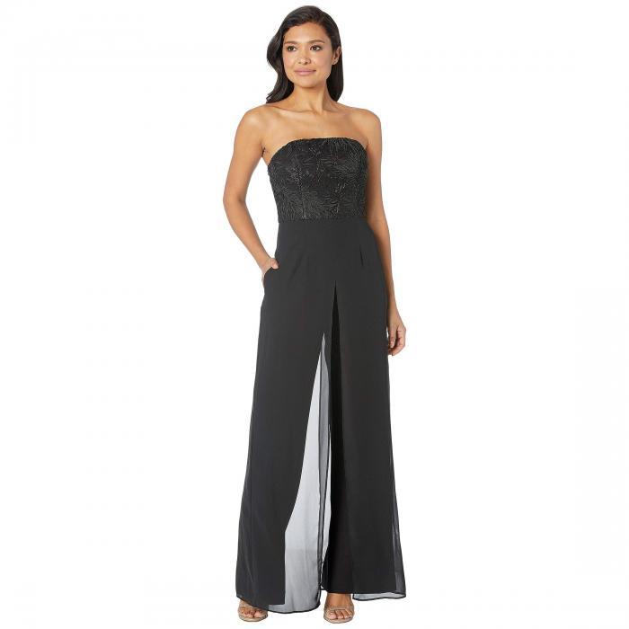 アドリアナパペル ADRIANNA PAPELL クレープ レディースファッション レディース 【 Embroidered Strapless Crepe Jumpsuit 】 Black