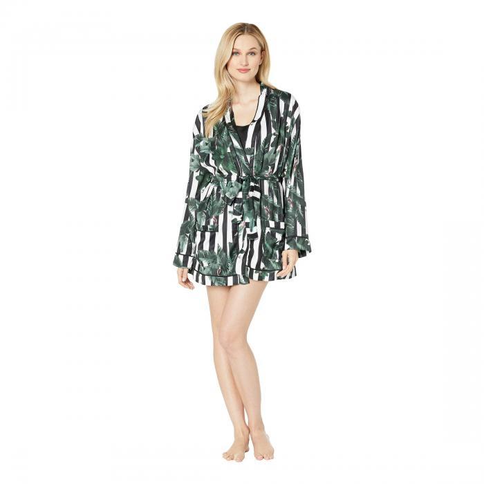 PLUSH インナー 下着 ナイトウエア レディース ナイト ルーム 【 Silky Striped Jungle Print Lounge And Pajama Robe 】 Black/white Striped Jungle